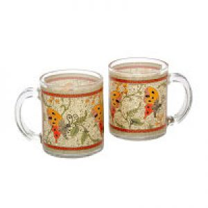 GLASS MUG SET – BATIK KUPU GMB3602